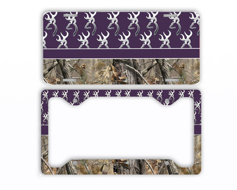 Dark Purple Browning Camo License Plate Frame Car Tag Country Hunting