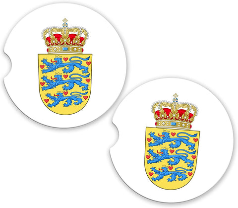 Denmark World Flag Coat Of Arms Sandstone Car Cup Holder Matching Coaster Set