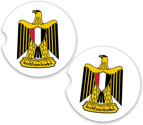 Egypt World Flag Coat of Arms Sandstone Car Cup Holder Matching Coaster Set