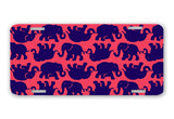 Elephants Navy Red License Plate Frame Preppy Car Tag Lilly Inspired Tusk In Sun