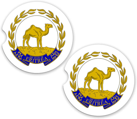 Eritrea World Flag Coat Of Arms Sandstone Car Cup Holder Matching Coaster Set