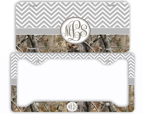Gray Chevron Camo Monogrammed License Plate Frame Car Tag Country Hunting Deer Personalized