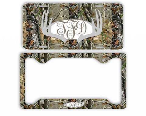 Gray Antlers Camo Monogram License Plate Frame Car Tag Country Hunting Deer