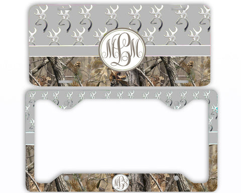 Gray Buck Head Camo Monogrammed License Plate Frame Car Tag Country Hunting Deer Personalized