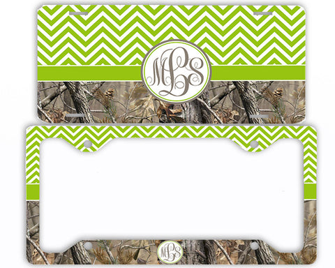 Green Chevron Camo Monogrammed License Plate Frame Car Tag Country Hunting Deer Personalized