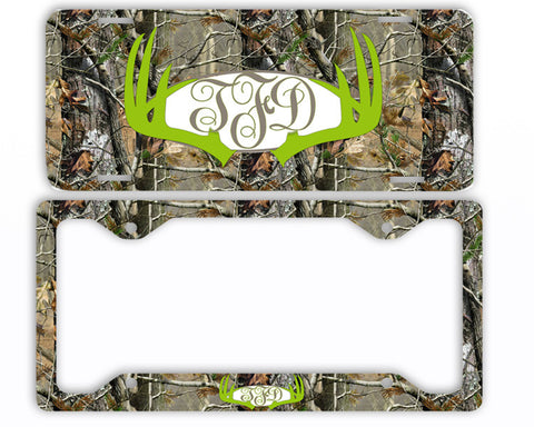 Green Antlers Camo Monogram License Plate Frame Car Tag Country Hunting Deer