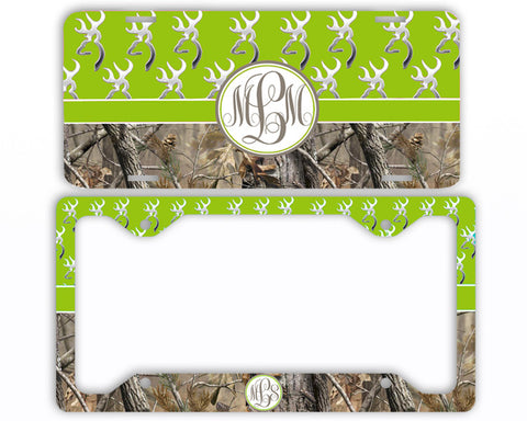 Green Buck Head Camo Monogrammed License Plate Frame Car Tag Country Hunting Deer Personalized