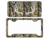 Gray Antlers Camo Deer License Plate Frame Car Tag Country Hunting