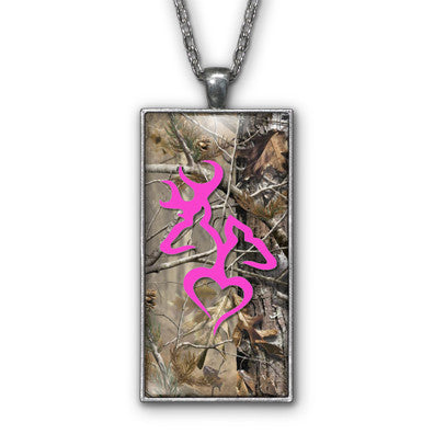 Hot Pink Heart Camo Love Browning Pendant Necklace Jewelry
