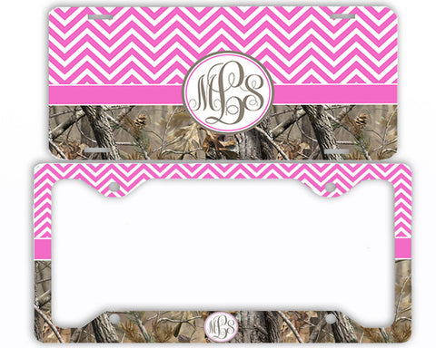 Hot Pink Chevron Camo Monogrammed License Plate Frame Car Tag Country Hunting Deer Personalized
