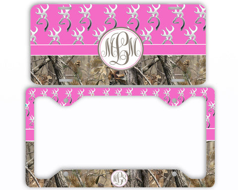 Hot Pink Buck Head Camo Monogrammed License Plate Frame Car Tag Country Hunting Deer Personalized