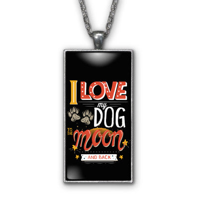 Love My Dog Moon Pendant Necklace Jewelry