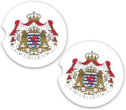 Luxembourg World Flag Coat Of Arms Sandstone Car Cup Holder Matching Coaster Set