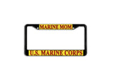 US Marines Mom Black Metal License Plate Frame Car Tag Holder