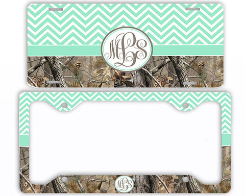 Mint Chevron Camo Monogrammed License Plate Frame Car Tag Country Hunting Deer Personalized