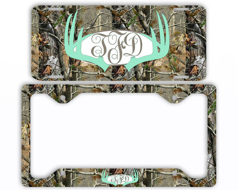 Mint Antlers Camo Monogram License Plate Frame Car Tag Country Hunting Deer