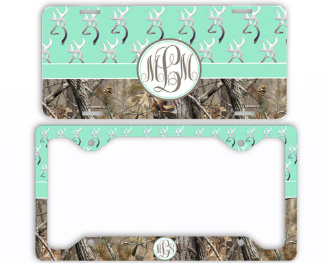 Mint Buck Head Camo Monogrammed License Plate Frame Car Tag Country Hunting Deer Personalized