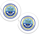 Micronesia World Flag Coat Of Arms Sandstone Car Cup Holder Matching Coaster Set