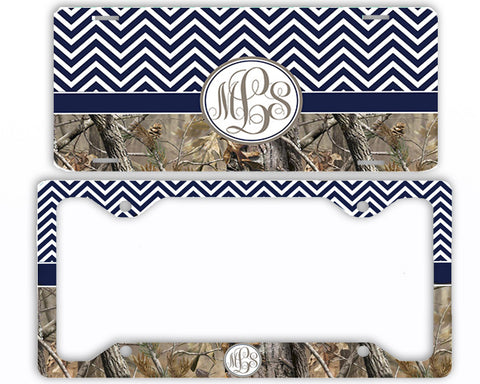 Navy Chevron Camo Monogrammed License Plate Frame Car Tag Country Hunting Deer Personalized