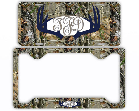 Navy Antlers Camo Monogram License Plate Frame Car Tag Country Hunting Deer