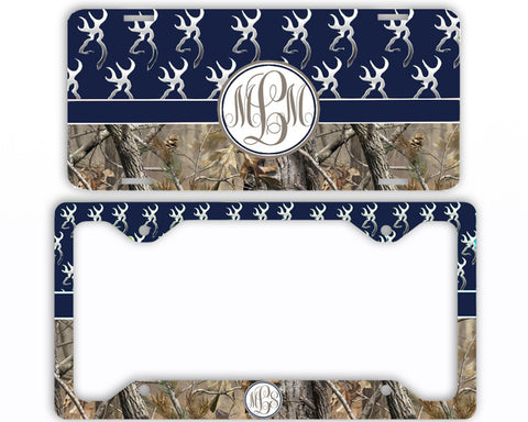 Navy Buck Head Camo Monogrammed License Plate Frame Car Tag Country Hunting Deer Personalized