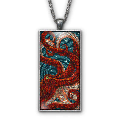Octopus Art Mosaic Photo Pendant Necklace Jewelry