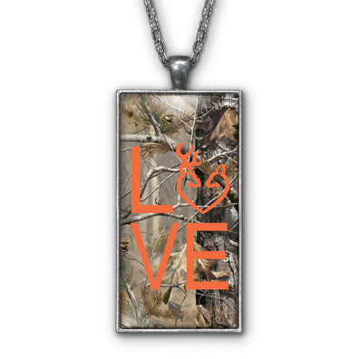 Orange Camo Love Browning Pendant Necklace Jewelry