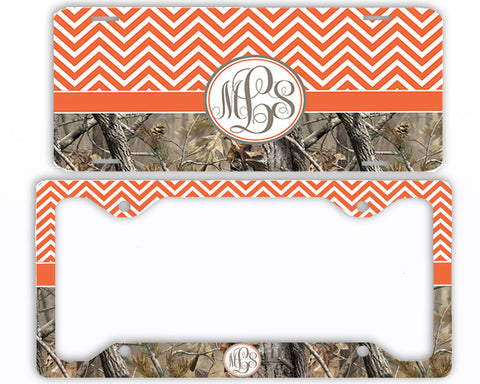 Orange Chevron Camo Monogrammed License Plate Frame Car Tag Country Hunting Deer Personalized