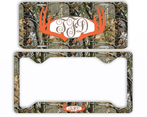 Orange Antlers Camo Monogram License Plate Frame Car Tag Country Hunting Deer