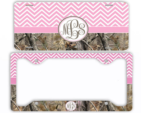 Pink Chevron Camo Monogrammed License Plate Frame Car Tag Country Hunting Deer Personalized