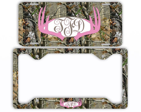 Pink Antlers Camo Monogram License Plate Frame Car Tag Country Hunting Deer