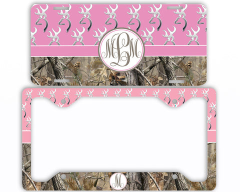 Pink Buck Head Camo Monogrammed License Plate Frame Car Tag Country Hunting Deer Personalized