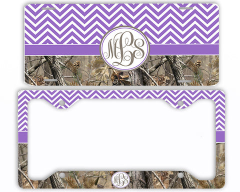 Lavender Chevron Camo Monogrammed License Plate Frame Car Tag Country Hunting Deer Personalized
