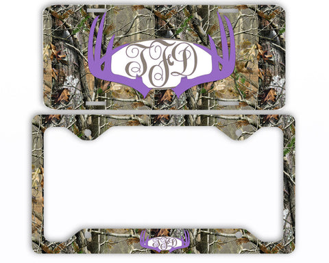 Lavender Antlers Camo Monogram License Plate Frame Car Tag Country Hunting Deer