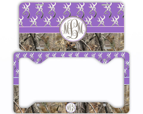 Lavender Buck Head Camo Monogrammed License Plate Frame Car Tag Country Hunting Deer Personalized