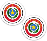 Paraguay World Flag Coat Of Arms Sandstone Car Cup Holder Matching Coaster Set