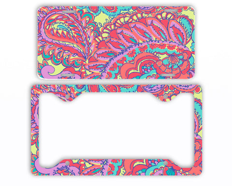 Pink Mint Purple Paisley Lilly Inspired License Plate Frame Preppy Car Tag