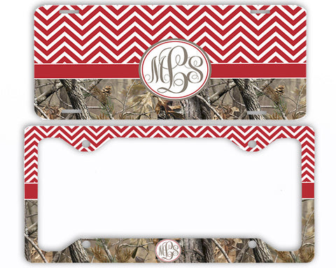 Red Chevron Camo Monogrammed License Plate Frame Car Tag Country Hunting Deer Personalized