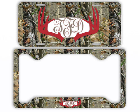 Red Antlers Camo Monogram License Plate Frame Car Tag Country Hunting Deer