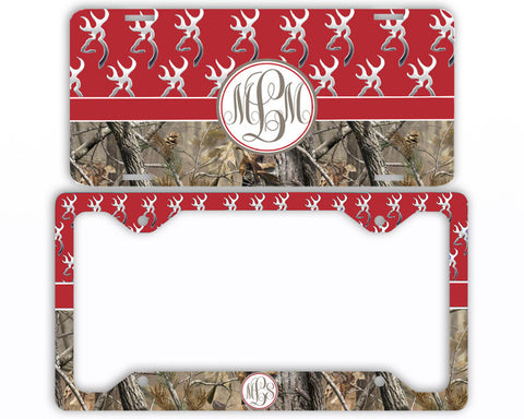 Red Buck Head Camo Monogrammed License Plate Frame Car Tag Country Hunting Deer Personalized