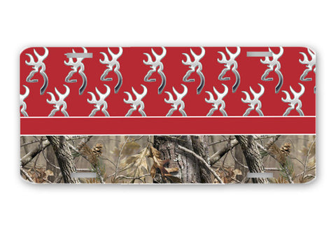 Red Browning Camo License Plate Frame Car Tag Country Hunting