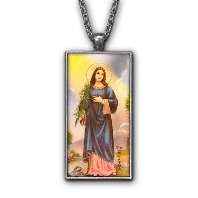 Saint Agatha Painiting Religious Symbol Pendant Necklace Jewelry