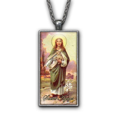 Saint Agnes Painiting Religious Symbol Pendant Necklace Jewelry