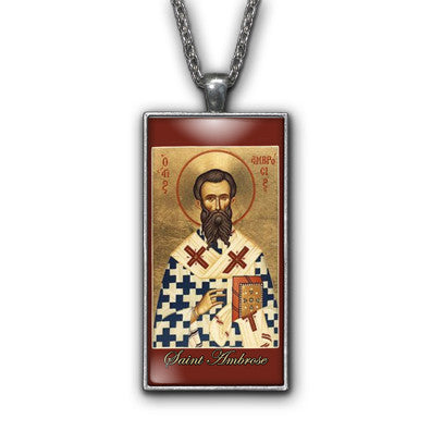 Saint Ambrose Painting Religious Pendant Necklace Jewelry