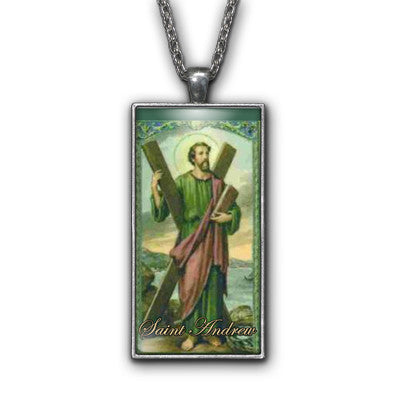 Saint Andrew Painting Religious Pendant Necklace Jewelry