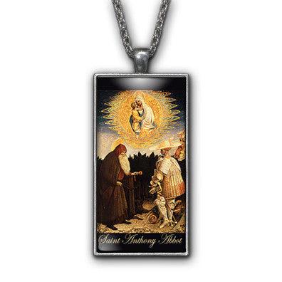 Saint Anthony Abbot Painting Religious Pendant Necklace Jewelry