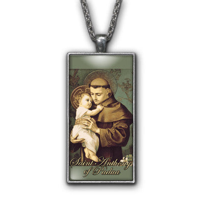 Saint Anthony Padua Painting Religious Pendant Necklace Jewelry