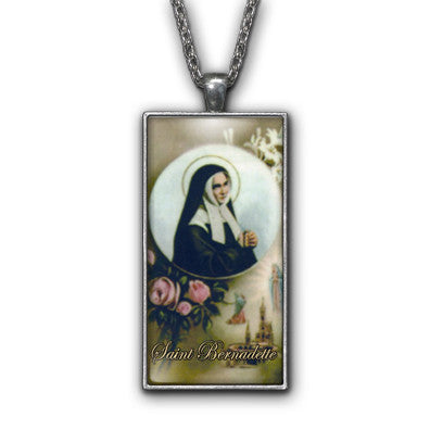 Saint Bernadette Painting Religious Pendant Necklace Jewelry