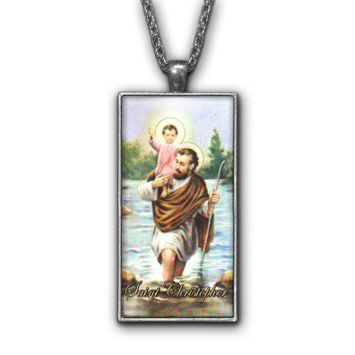 Saint Christopher Painting Religious Pendant Necklace Jewelry