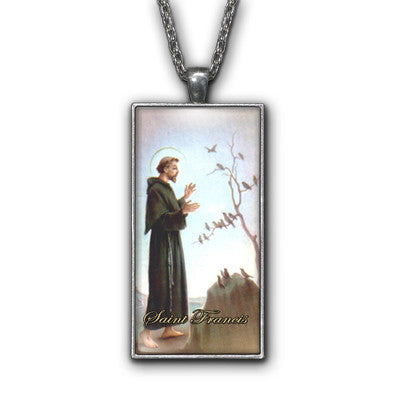 Saint Francis Painting Religious Pendant Necklace Jewelry
